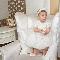 Платье для крещения девочки Ника (Вероника) молочный от 3 до 6 месяцев