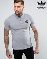 Футболка Поло | Серая тенниска | Adidas logo