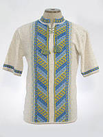 Вязанка мужская короткий рукав Лестница желто-голубая | Вязанка чоловіча Драбинка жовто-блакитна