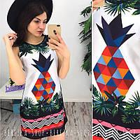 """Очень красивое  платье с ярким принтом """"Ананас""""  BER-002.004.024(3)17"""