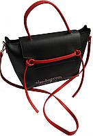 Женская сумка из эко кожи с полоской черный с красным