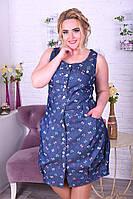 Женское летнее платье батал джинс