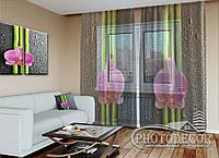 """ФотоТюль """"Орхидеи и бамбук"""" (2,5м*3,0м, на длину карниза 2,0м)"""