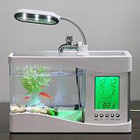 Настольный USB-аквариум с часами и термометром