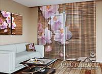 """ФотоТюль """"Орхидея и бамбук"""" (2,5м*1,50м, карниз 1м)"""