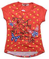 Футболка для девочек с шифоновой спинкой и изображением Бабочек 2-5 лет.