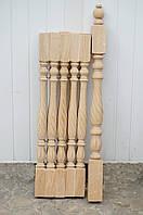 """Деревянная балясина-столб из Бука """"Капля с витым верхом"""""""
