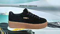 Подростковые кроссовки PUMA Rihanna Suede Creeper черные замша