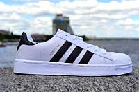 Подростковые кроссовки Adidas SuperStar White/Black/Gold 36-41