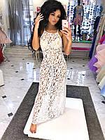 Ажурная пляжная туника  Ткань: гипюр папоротник Цвет: белый и черный фото реал дпог №1012