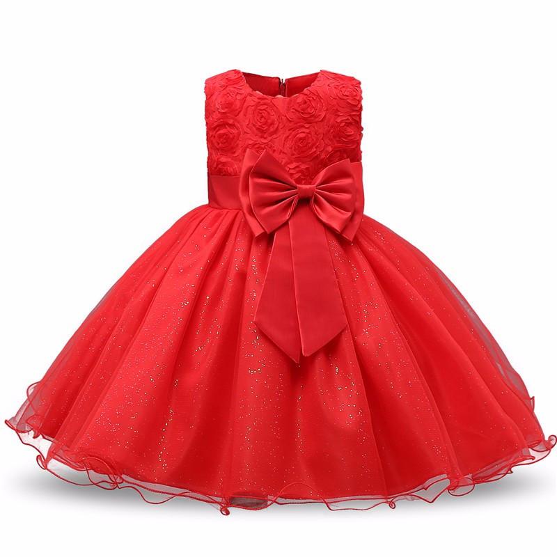 726cb65f0c88357 Нарядное платье с объемными розочками красное для девочки -  Интернет-магазин