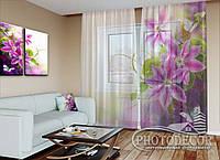 """ФотоТюль """"Пестрые орхидеи и бабочки"""" (2,5м*4,5м, на длину карниза 3,0м)"""