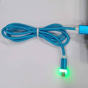 Micro USB-кабель з підсвічуванням синій 1м. Краща якість!, фото 2