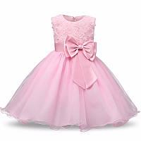 Нарядное платье  с объемными розочками розовое для девочки на 2-3 года