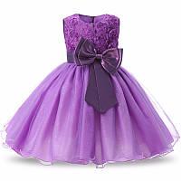 Нарядное платье  с объемными розочками фиолет для девочки на 2-3 года