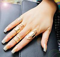 """Позолоченные кольца комплект 5 штук """"Клеопатра"""""""