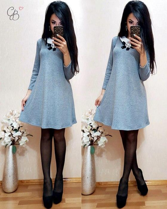 Женское стильное платье с брошью в расцветках. МЛ-21-0417