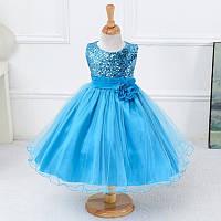 Нарядное платье  с паетками голубое для девочки на 19-24 мес.