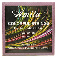 Цветные струны для акустической гитары Amila 11-52