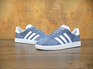 Женские кроссовки Adidas Gazelle Blue синие топ реплика, фото 2