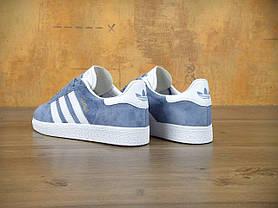 Женские кроссовки Adidas Gazelle Blue синие топ реплика, фото 3