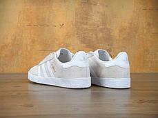 Женские кроссовки Adidas Gazelle светло-коричневые топ реплика, фото 2