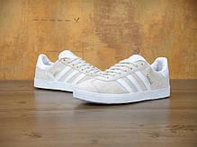 Женские кроссовки Adidas Gazelle светло-коричневые топ реплика, фото 3