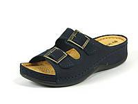 Ортопедическая женская обувь шлепанцы кожаные р.36,37,38,39,40,41 синие