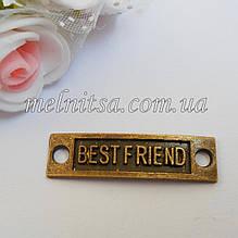 "Металлический декор, подвеска  ""Best friend"",  бронза, 1шт"