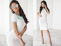 Белое платье с круглым воротником