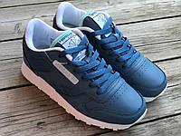 Кожаные женские кроссовки Reebok синие