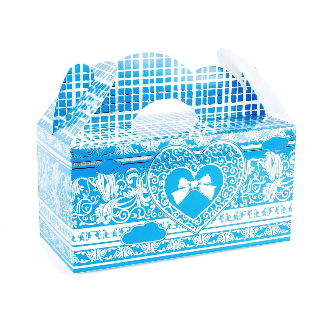 Подарочная коробочка бонбоньерка с сердцем голубая