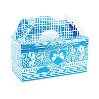 Подарочная коробочка бонбоньерка с сердцем голубая, фото 1