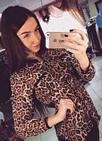 """Атласная женская блуза """"LEOS"""" с длинным рукавом и леопардовым принтом"""