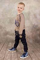 Детские брюки для мальчика джинсового типа 4-8 лет р. 98-128 ТМ Модный Карапуз Синий 03-00572