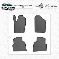 Комплект резиновых ковриков Stingray для автомобиля  SKODA ROOMSTER 2006-     4шт.
