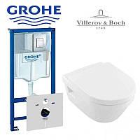 Инсталляция в комплекте с унитазомGrohe Rapid SL 38772001 и Villeroy&Boch Architectura 5684H101