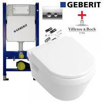 Комплект Инсталляции с унитазом Geberit Duofix 458.161.21.1+Villeroy&Boch O.novo 5660H101
