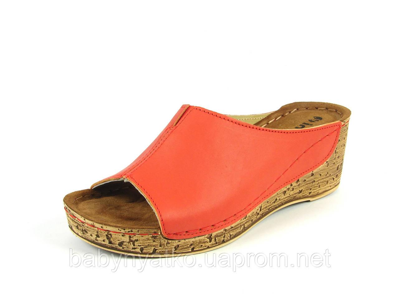 Женская летняя ортопедическая кожаная обувь сабо р.36(22.5см) красные e687db8a384