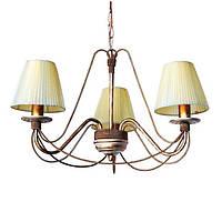Люстра кованая Косички 3 лампы Бежевый с Золотом, с абажурами