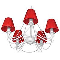 Люстра кованая Косички 5 ламп Белая, с абажурами