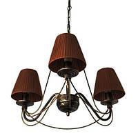 Люстра кованая Косички 3 лампы Старая бронза, с абажурами