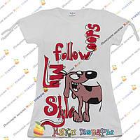 Детские белые футболки с собачкой для девочек от 5 до 8 лет пр- во Турция (4199-3)