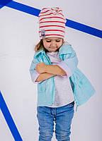 Полосатая шапка для девочки Кин красного  цвета