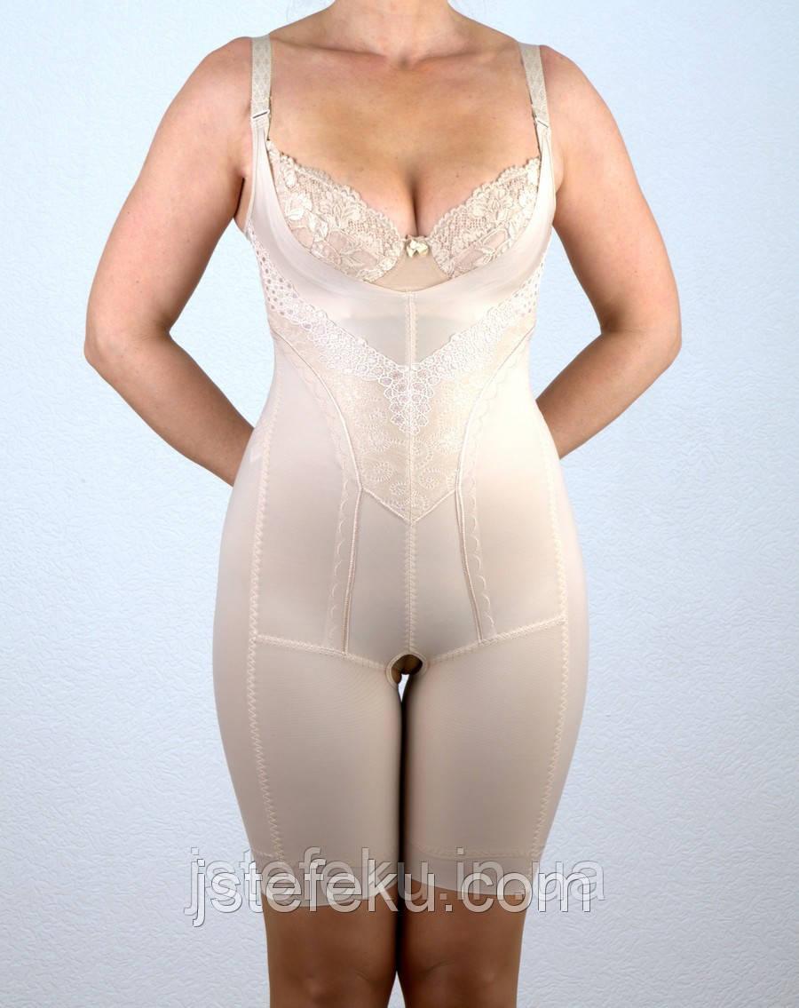 Женское корректирующее белье Комбинезон со съемными бретелями, спинка открыта, лазерная обработка срезов 2509