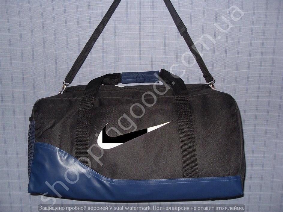 ccb31e34a27f Дорожная сумка 013603 малая (45х24х20, см) черная с синим спортивная  багажная текстиль кожзам