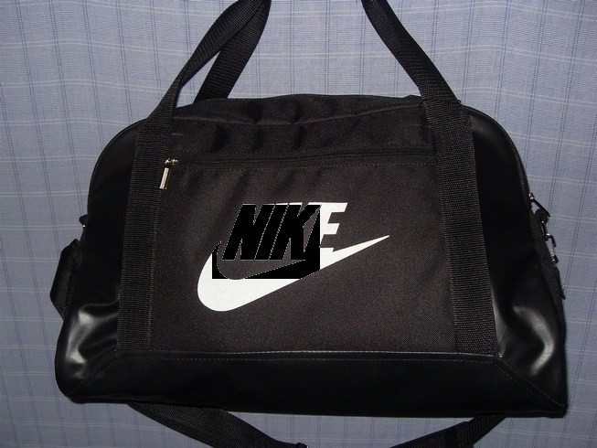 Багажная сумка 013669 малая (50х32х20, см) черная с белым спортивная дорожная текстиль кожзам - Shoppingood в Харькове
