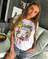 ФУТБОЛКА BONJOUR. Коттон с эластаном декорирован принтом и цветами. Размер единый 42-46. (10048)