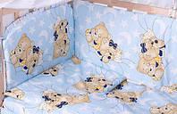 Постель GOLD с рисунком (8 элем.,без змеек на защите) Qvatro 60781 Голубой (мишка-мальчик и мишка-девочка спят)