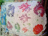 Детский белый коврик для ванной с рыбами